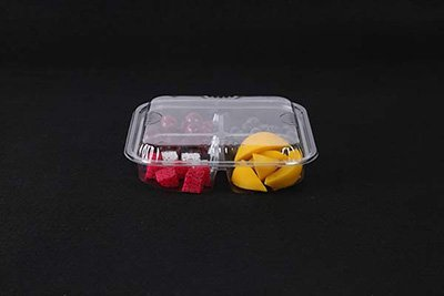 Four compartments plastic tray